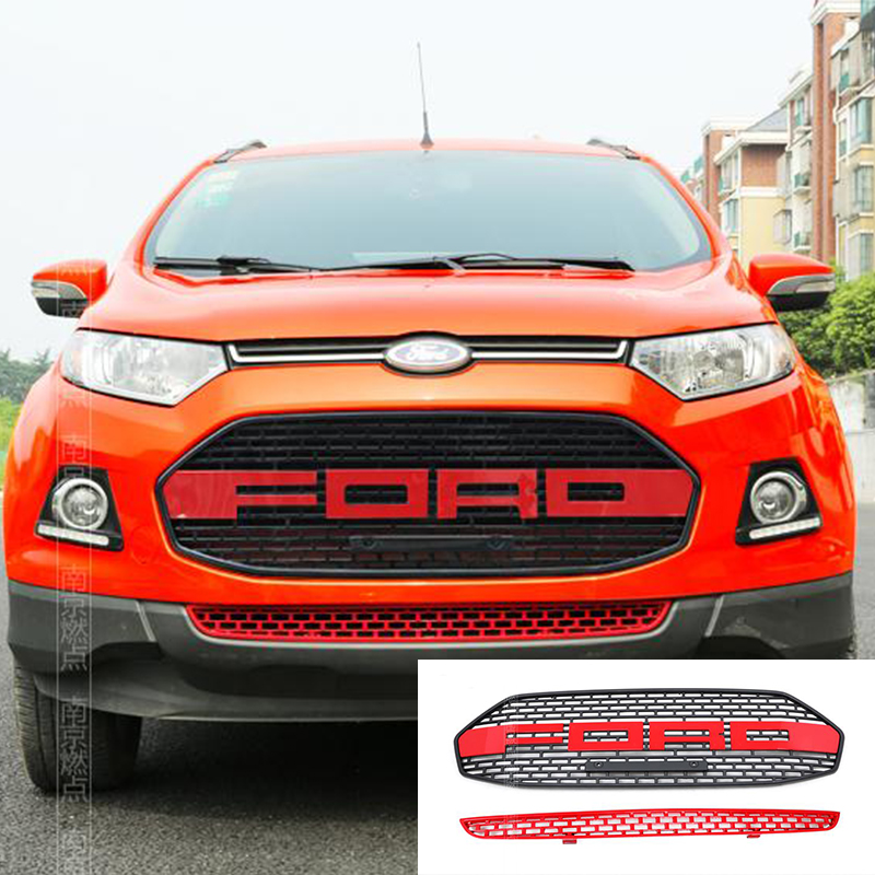 2 PCS/SET Red For Ford EcoSport Modified F150 Style Front Hood Center Grille Grill Car Styling 2012 2013 2014 2015 2016