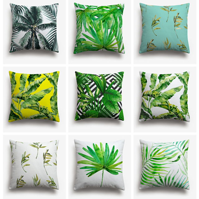 Tropical Sofa Throw Cover Taupe Leather Bed Summer Exotic Jungle Plant Pillows Palm ...