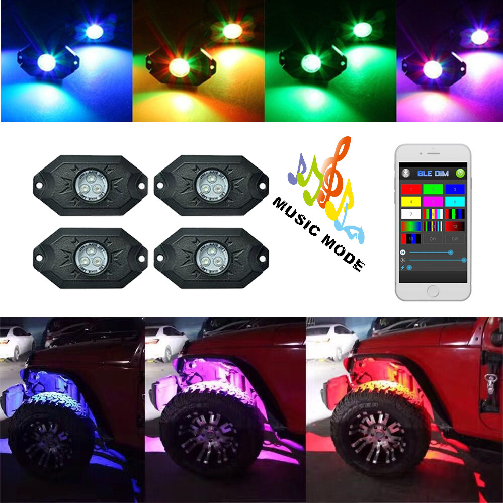 купить Multi-Color RGB LED Rock Light Kit with Bluetooth Controller ,Timing Function, Music Mode for Cars Truck недорого