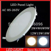 10pcs/lot Round LED panel light 3W/4W/6W/9W/12W/15W/18W AC 110v 220v Led Panel Light AC85-265V Cool/Warm White Shape lamps