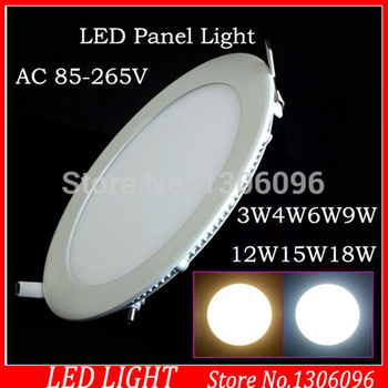 Ultra thin led down light lamp 4w 6w 8w10w 12w 15w 18w led ceiling recessed grid downlight slim round panel light free shipping