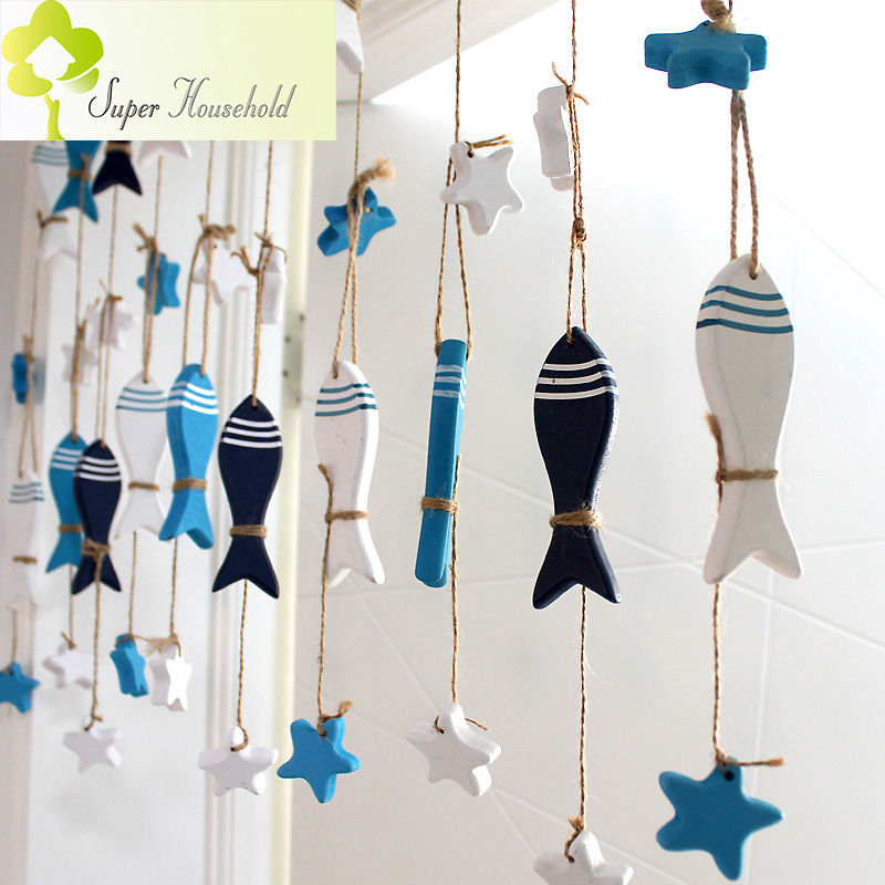 DIY Wood Fish Curtains Door Decorative Children Curtain Short Curtains Kitchen Decorative Room Divider Passage Backdrop