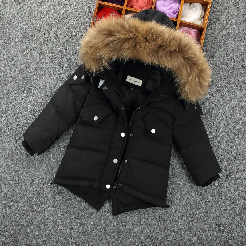 Children Raccoon Fur Collar Boys Girls Jacket Kids White Duck Down Coat Winter Warm Baby Snow Suit Windproof Boys Parkas TZ228 kids winter down long jacket boys girls 90% white duck down coat children fox raccoon fur hooded baby thick warm clothes suit