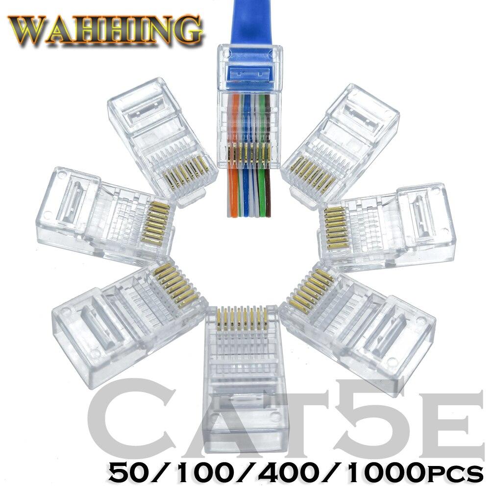 50/100 piezas Rj45 conector Cat5 Cat5e conector de red 8P8C sin apantallar modular rj45 enchufe utp terminales tienen agujero HY1538