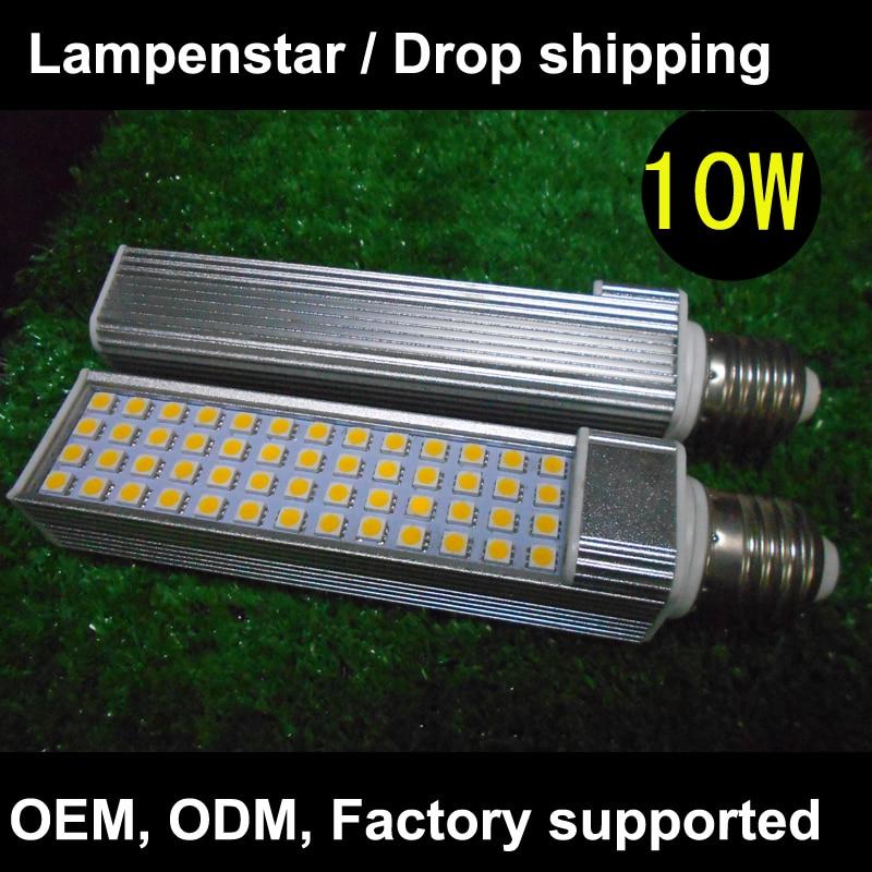 10pcs / lot led lamp e27 plc led downlight 60LED5050 SMD Horizontal Plug pl light, AC 85V-265V 110V 220V 230V 240V ce rohs 1 pcs plc cqm1 cpu21 e omr cqm1 cpu21 e