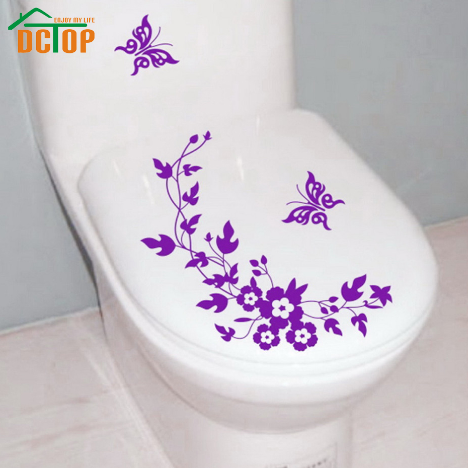 Dctop Butterflies Flower Vine Bathroom Vinyl Wall Stickers Toilet