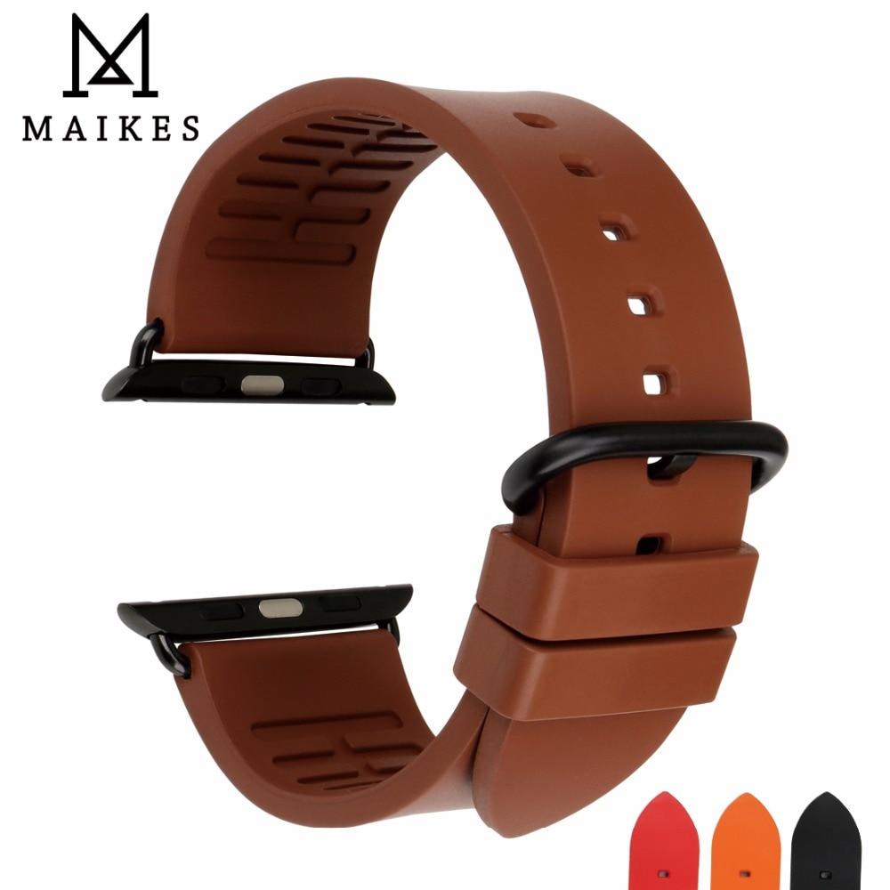 MAIKES Pour Apple Montre Bande Fluoro Ruuber Bracelet Pour Apple Montre 44mm 40mm 42mm 38mm sport Série 4 3 2 1 iWatch Tous Les Modèles