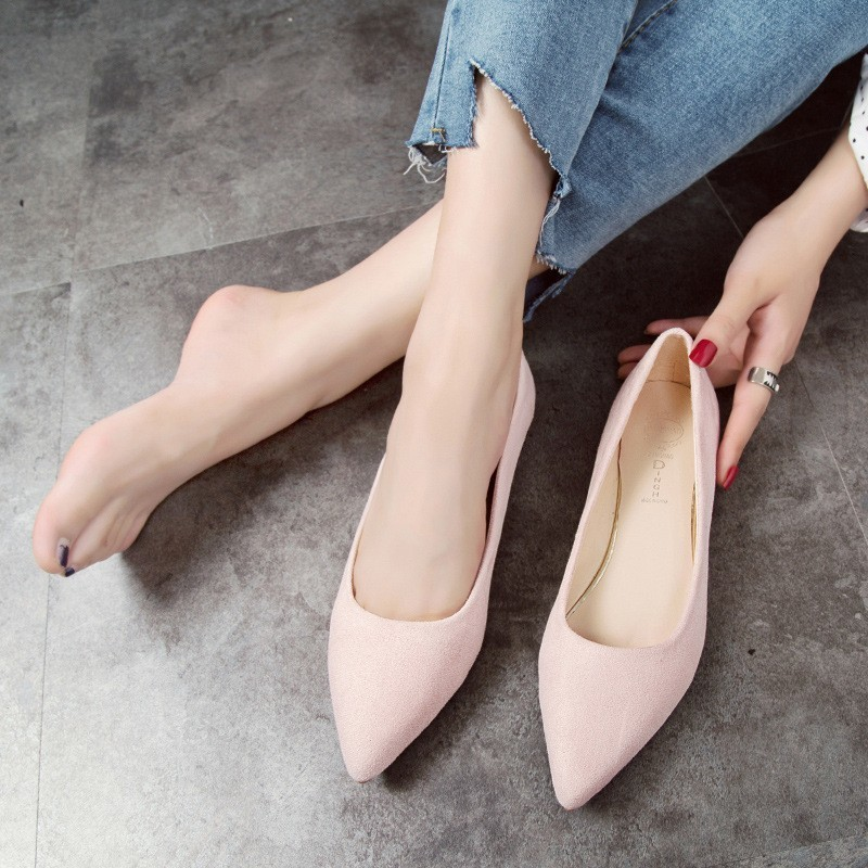 Fashion Footwear Women Shoes Woman Ballerina Flats Suede Slip-on Shoes Women Pointed Toe Rubber Ladies Flat Shoes Zapatos Mujer women pointed toe flats 2016 casual shoes female graffiti ballet flats mujer zapatos footwear for woman
