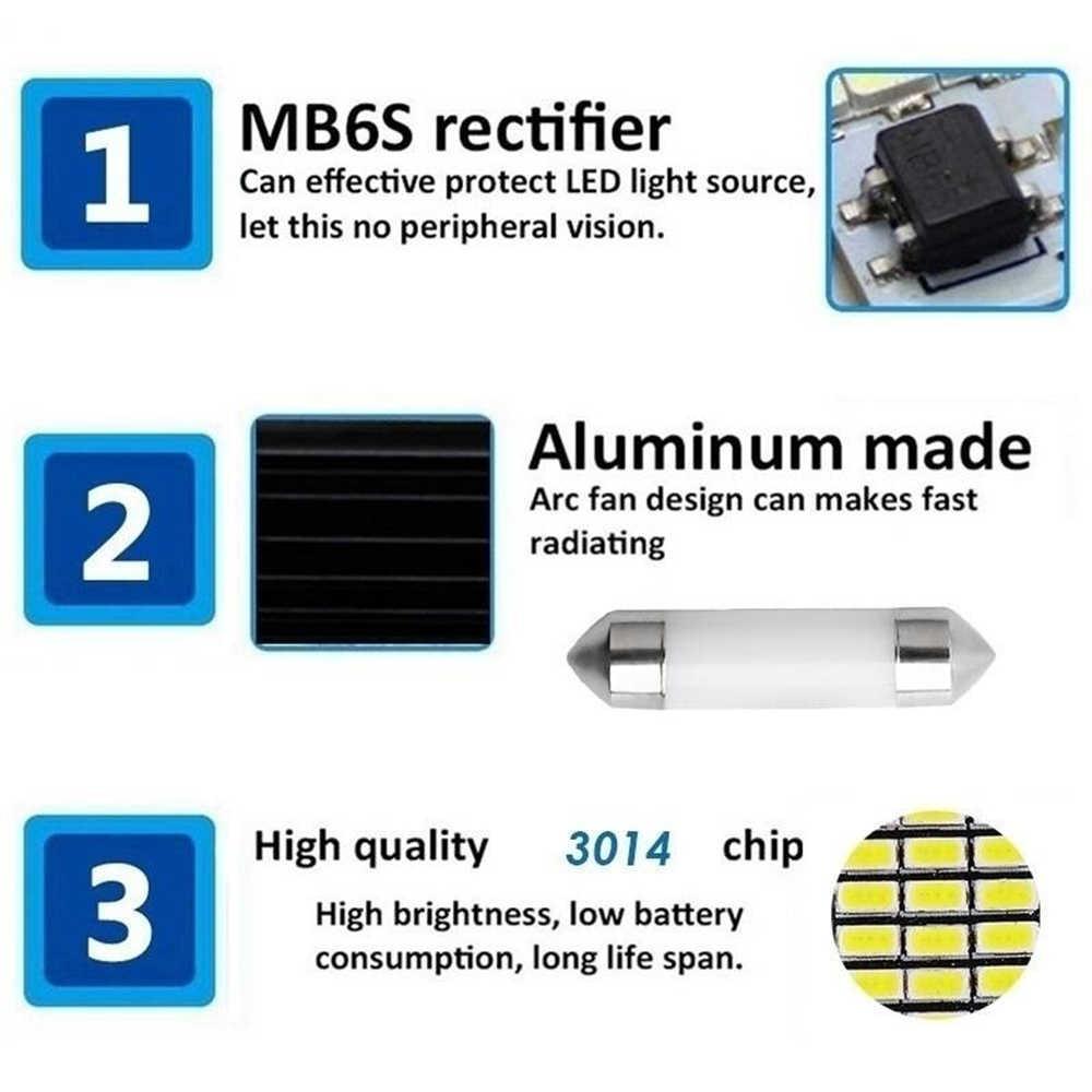1 шт., 31 мм, 36 мм, 39 мм, 42 мм, Автомобильный светодиодный светильник C5W, автомобильный купольный светильник, автомобильная интерьерная лампа, DC12V, белый светильник для номерного знака