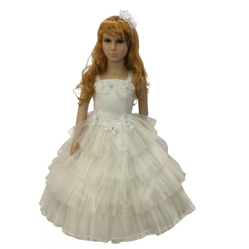 Factory Sales Children Party Dress 2018 New Arrival Beige Flower Girl Dresses For Weddings Lace Appliques Kids Pageant Ball Gown 4pcs new for ball uff bes m18mg noc80b s04g