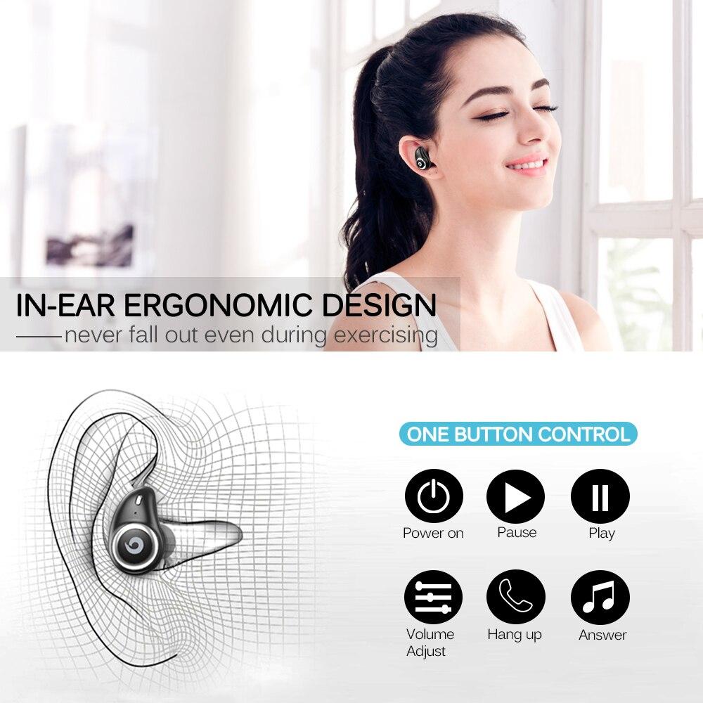 GUSGU TWS auricular Bluetooth inalámbrico auriculares V5.0 en la oreja del deporte auriculares con banco de potencia y micrófono manos libres - 3