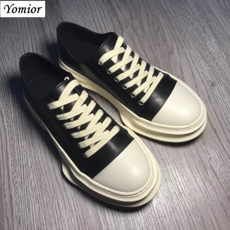 Yomior Handmade New Style Spring Genuine Leather Men Shoes Unisex Fashion Casual Breathable Luxury Brand Trend Sneakers Big Size