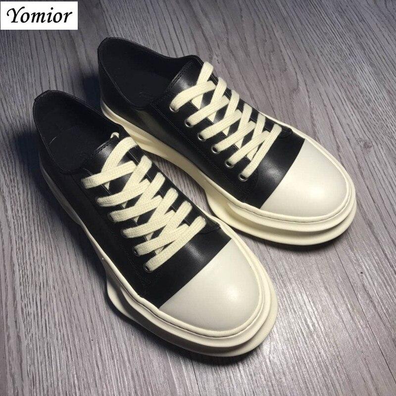 Yomior hecho a mano nuevo estilo primavera cuero genuino hombres zapatos Unisex moda Casual transpirable de lujo marca tendencia zapatillas de gran tamaño