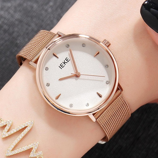 Luxury Rose Gold Rhinestone Starry Wrist Watch