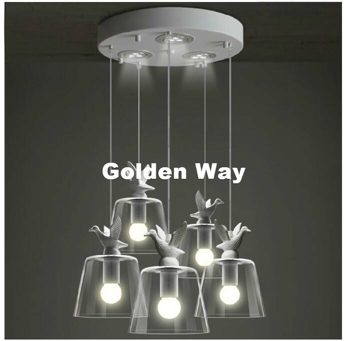 Modern Nordic Bird Light Pendant Lamp Decor Dining Room Living Room Suspension Fixtures Glass Lampshade Resin Bird Lamp Fixture country style lamp modern pendant light dining room kitchen home fixture resin bird glass lampshade white iron e27 110 240v