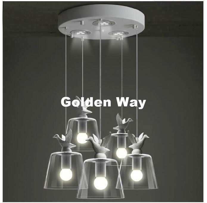Modern Nordic Bird  Light Pendant Lamp Decor Dining Room Living Room Suspension Fixtures Glass Lampshade Resin Bird Lamp Fixture