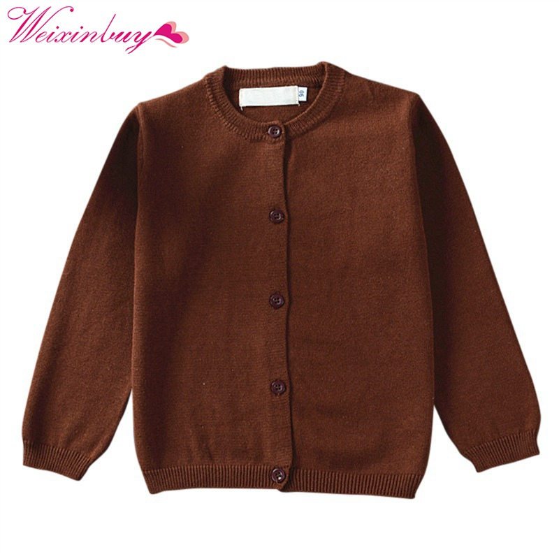 Kids Baby Solid Color Sweater Girls Boys Warm Knitted Pullover 1-4T
