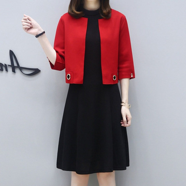61121c485fe 2 Piece Sets Black Dresses And Red Cardigan Spring Autumn Women Plus Size  Dress Short Jacket