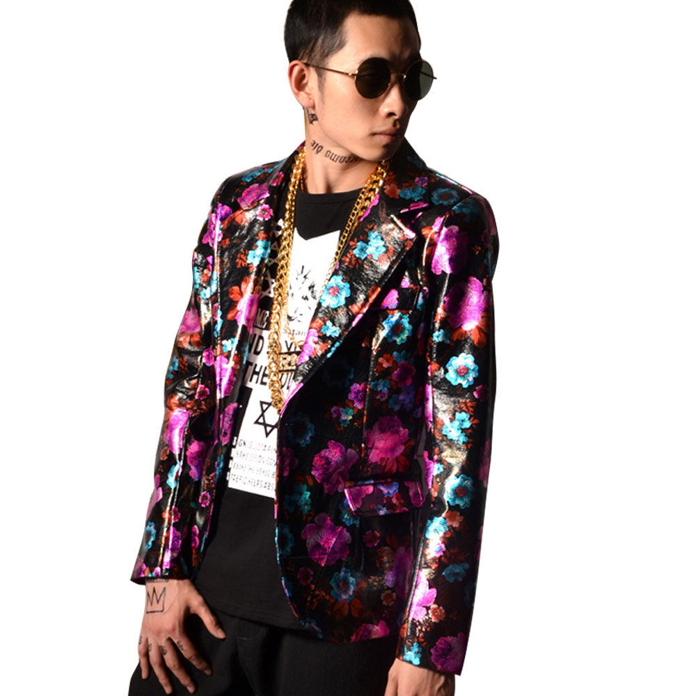 Manteau Fuchsia Danseur Hop Pu Star Chanteur Mode Super Costume Veste Fleur Mâle Motif Hommes De Costumes Décontractée Scène Cuir Hip wvx7Hna