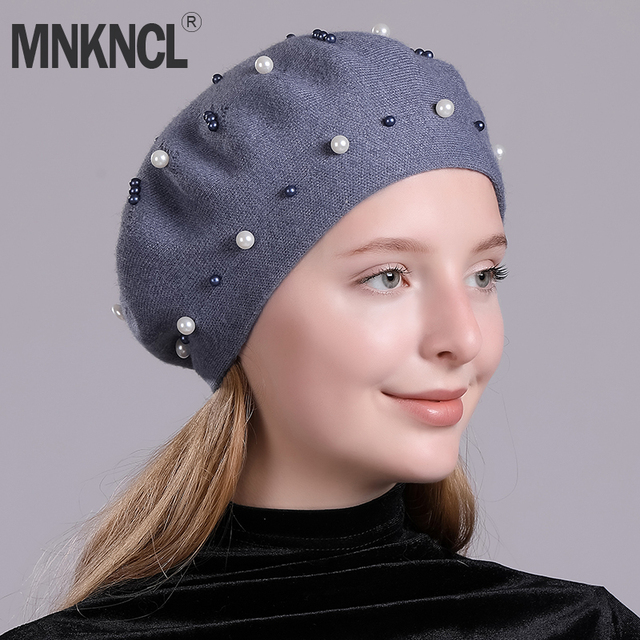 c53af1ef65323 MNKNCL Winter Knitted Hat Female Fashion Cashmere Beret Women Felt Hats  Soft Bonia Girls French Hat Elegant Pearl Beret