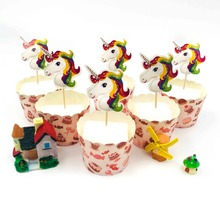 24pcs/lot Unicorn Party Cupcake Topper Happy Birthday Baby Shower Children Decor Kids Cake Supplies kids favor