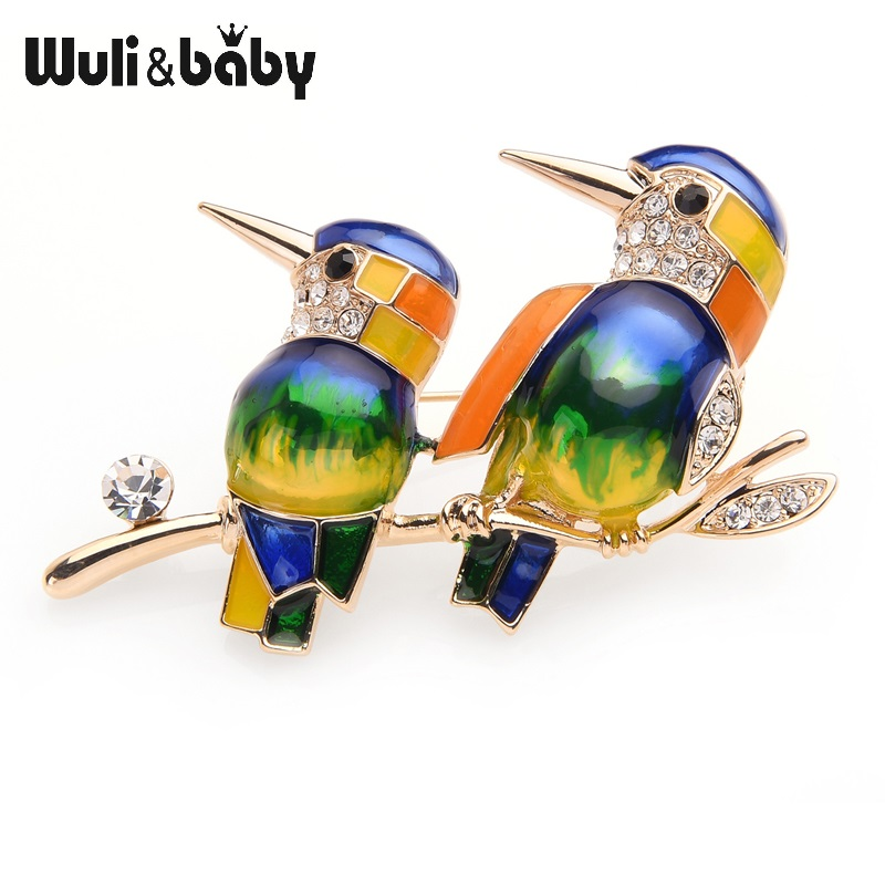 Wuli&baby Couple Blue Purple Birds Enamel Brooches For Women And Men Alloy Animal Rhinestone Banquet Party Brooch Gifts delicate rhinestone blue resin retro bird brooch for women