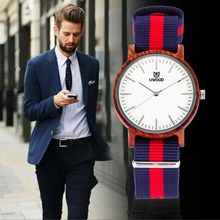 Hot Sale Men's bamboo Sandalwood Watch men Nylon Casual Wristwatch Good Quality Quartz Wristwatches Wooden Watch Top Gift Item