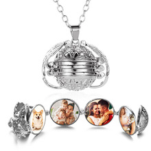 RE Fashion Photo Frame Memory Locket Pendant Necklace Silver Gold Angel Wings Jewelry Women Gift Album Box Necklaces A34 все цены