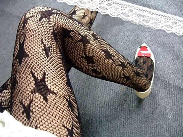 Vrouwen Panty Klassieke grote ster Zijden Kousen Dunne Dame Vintage Faux Tattoo Kousen Panty Vrouwelijke Kousen kleine netkousen
