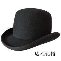 New arrival fedoras fashion women's hat dome woolen cap stage black bowler and bowknot for girl