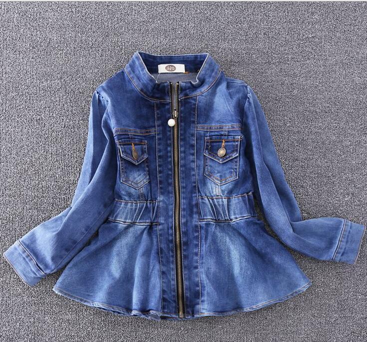 2017 New Children Spring Denim Jackets Brand Girls Shrink Waist Clothes Fashion Autumn Soft Outwear For