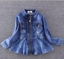 2017 Nouveaux Enfants Printemps Denim Vestes Marque Filles Réduire la Taille Vêtements Mode Automne Doux Outwear Pour Enfants Taille 100-140 cm