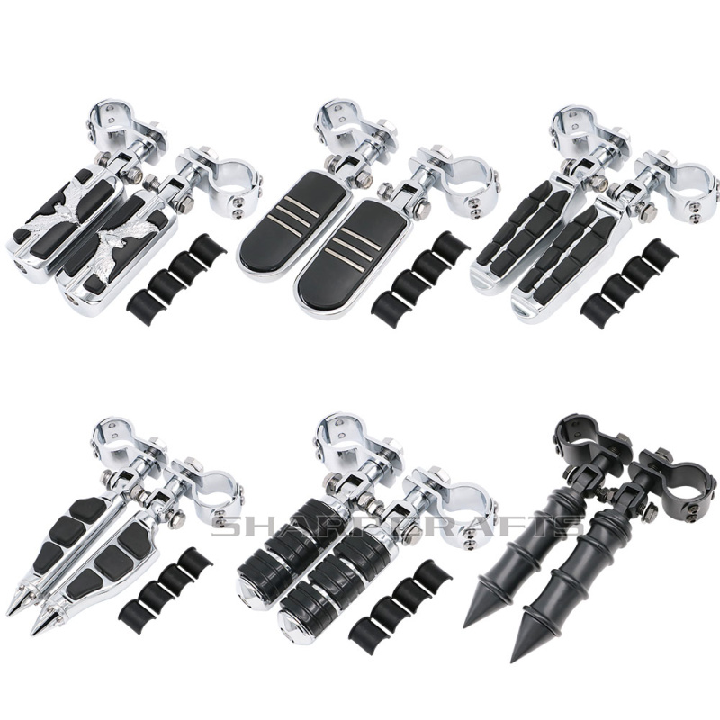 """32mm 1-1/4"""" 25mm 1"""" Motorcycle Highway Crash Bar Pegs Footpegs Clamps Engine Guard Mounts For Harley Softail Touring Dyna Custom"""