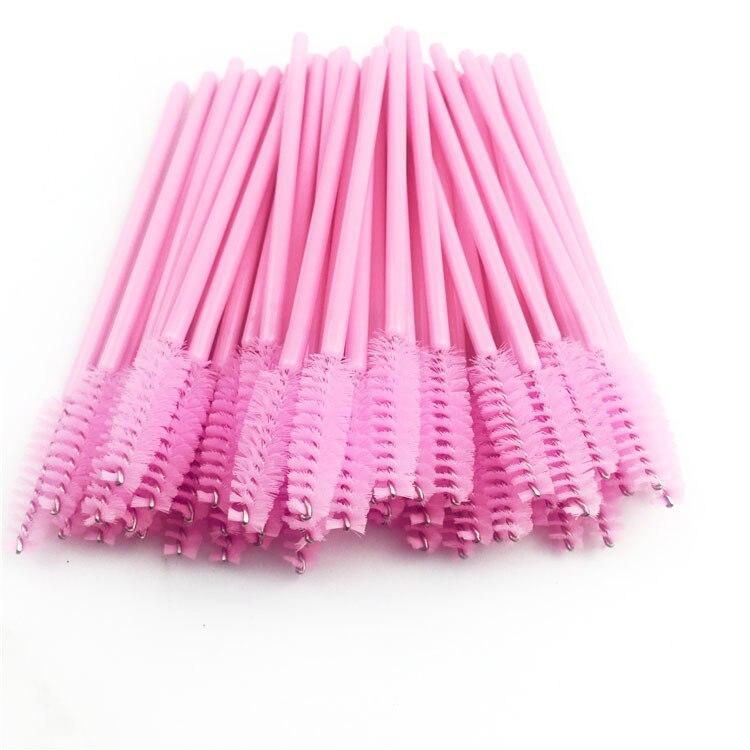 1000PCS/Set Pink Eyelashes Brush Disposable Micro Eyelash Brushes Eye Lashes Cosmetic Brush Makeup Tools Applicator Wand Eye Lip