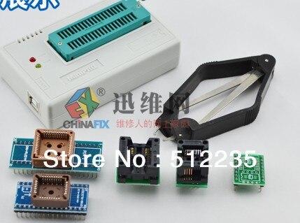 Acheter un en obtenir six Mise À Jour 5.91 nouvelle version TL866cs Programmateur USB + 5 pièces adaptateurs, IC AVR PIC Bios 51 MCU Flash, win7 64bit