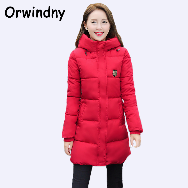Orwindny 2019 New Fashion Long Winter Jacket Women Slim Female Coat Thicken   Parka   Cotton Clothing Red Clothing Hooded Student