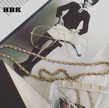 HBK Vintage Women Transparent Lens Sunglasses Street Fashion Luxury Metal Gold Oversize Eyewear UV400
