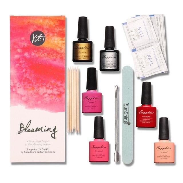Brand Sapphire 4 Colors Kit top base Nail Gel  Nail Remover Art Tools Sets Kits Nail Decorations