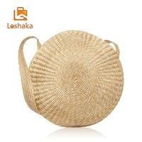 LOSHAKA Big Circle Straw Bag Luxury Women Beach Bags For Summer Large Designer Women Messenger Bag