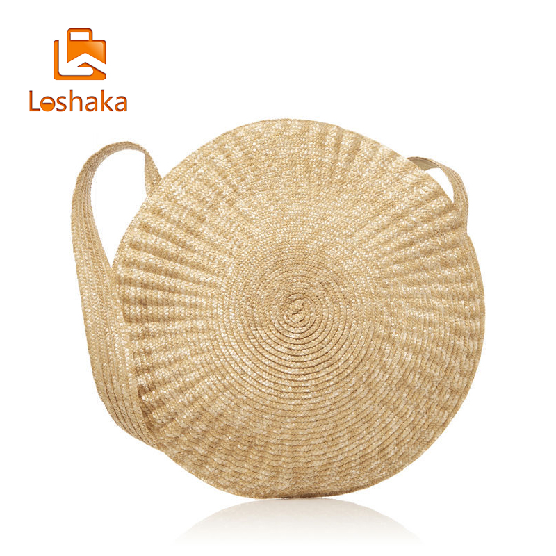 LOSHAKA Big Circle Straw Bag Luxury Women Beach Bags For Summer Large Designer Women Messenger Bag Vintage Travel Handbags handmade flower appliques straw woven bulk bags trendy summer styles beach travel tote bags women beatiful handbags
