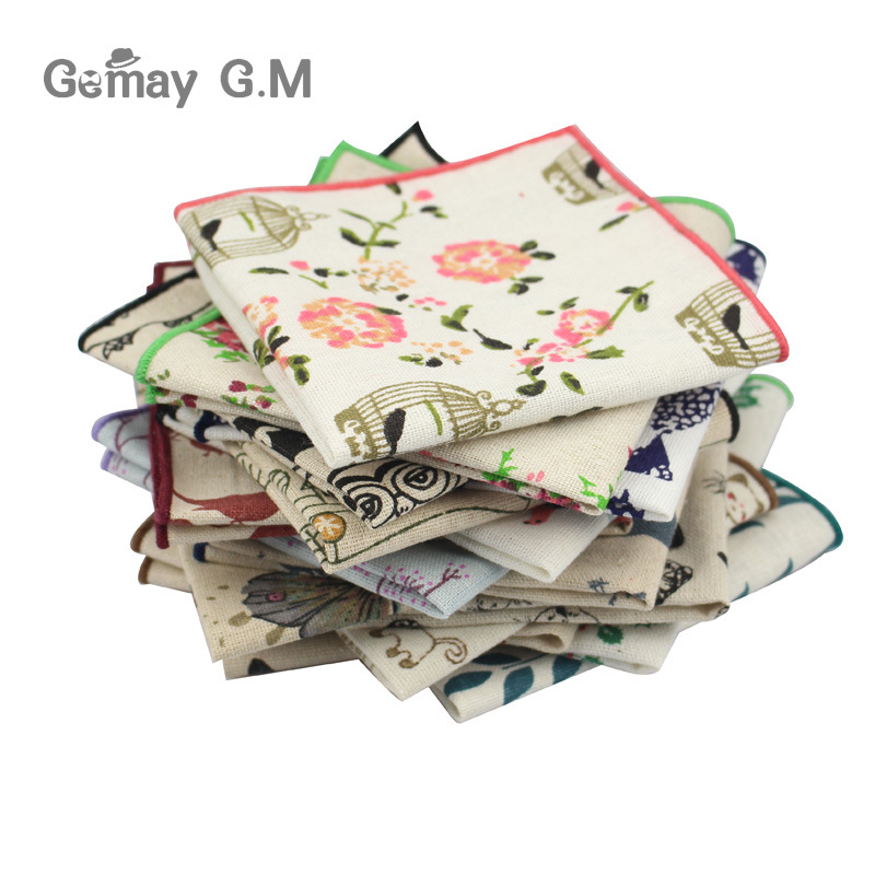 Brand Floral Printed Pocket Square For Mens Fashion Linen Handkerchiefs Wedding Party Groom Suits Pocket Towel Casual Hanky