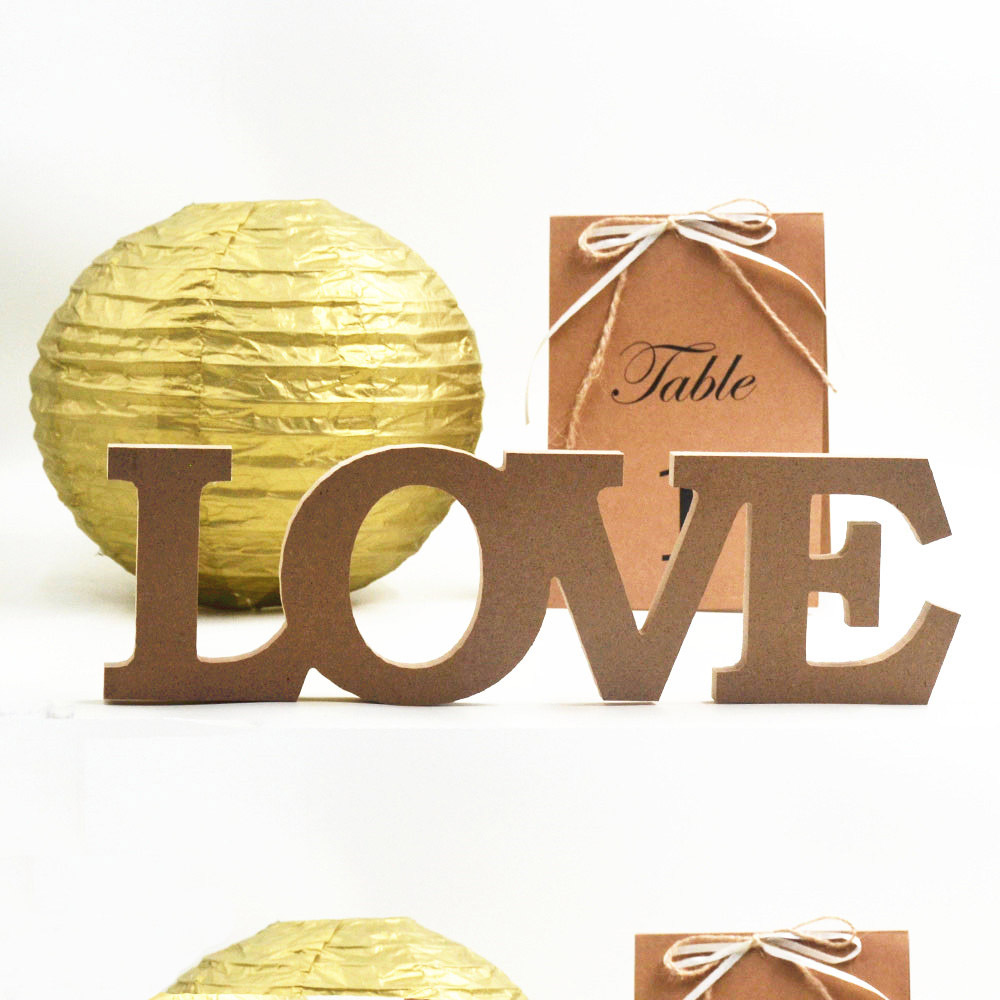 1set love romantic marriage party sweetheart vintage sign top table present decoration khaki mdf letter wedding