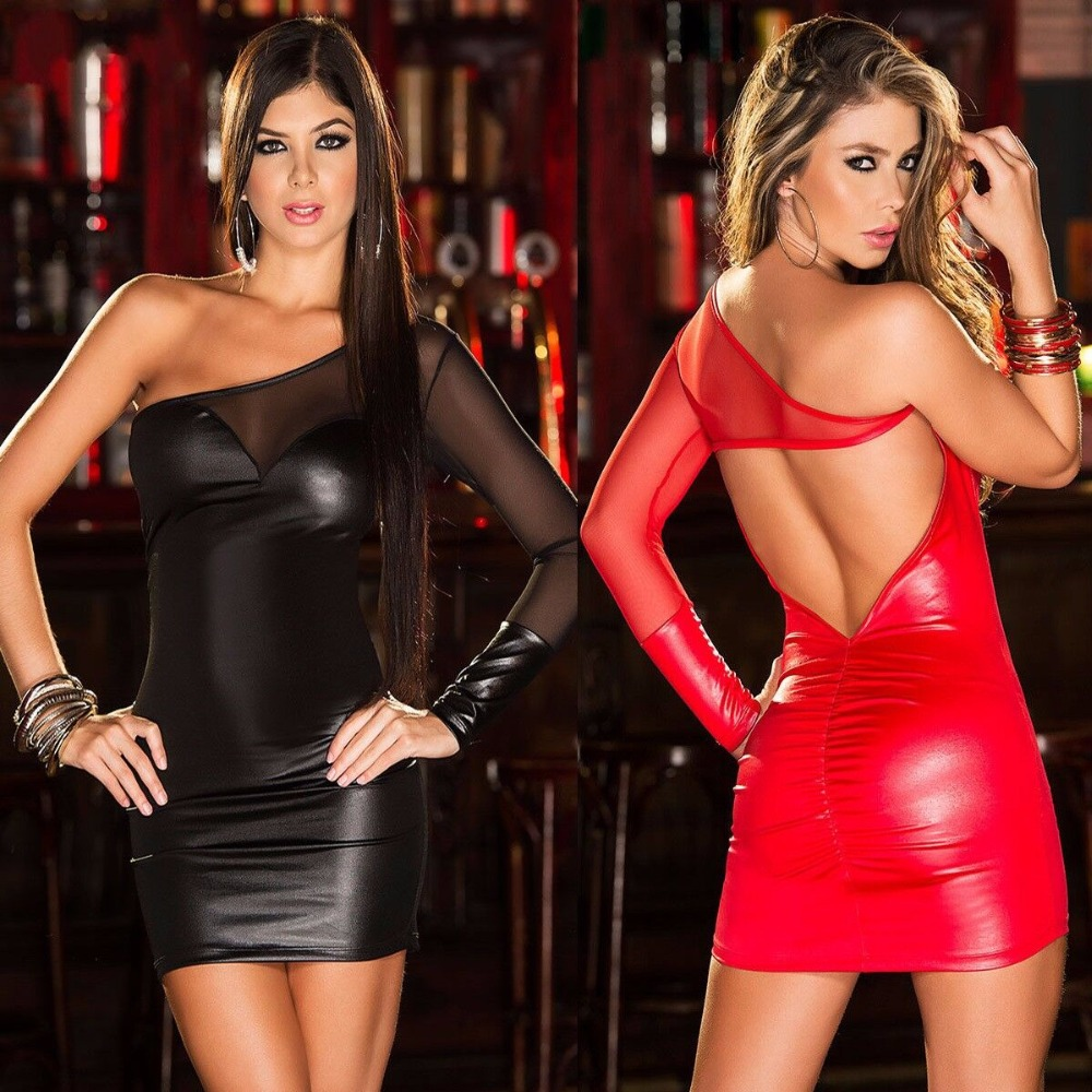 New Sexy Lace Imitation Leather Patchwork Dress Nightclub Bar Wear Backless Buttock Mini Short Dress