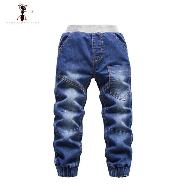Boys Cool Jeans Casual Elastic Waist  Fur Plush Children Kids Brand Cowboys Pants Enfants Trousers  2452