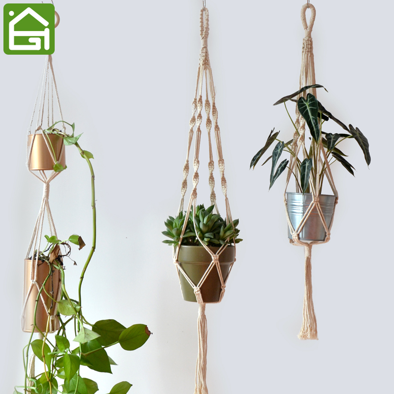 brained macrame plant hanger pots basket planter hanging rope flowerpot plant display holder. Black Bedroom Furniture Sets. Home Design Ideas