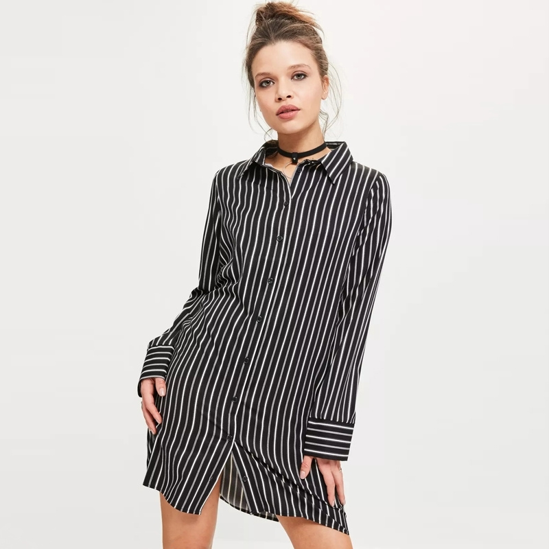 Spring Black White And Grey Striped Shirt Dress Contracted Commuter Boyfriend Wind Women Turn Down Collar Mini Dress MZ1570