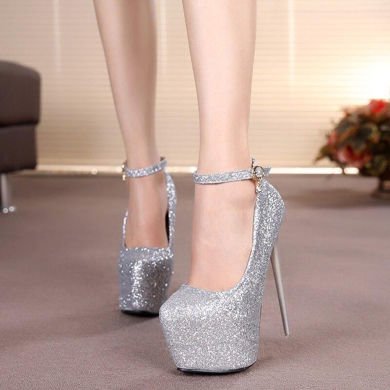16 cm pompes à talons hauts princesse discothèque chaussures de mariage sexy paillettes talon mince plate-forme chaussures sy-1985 - 3