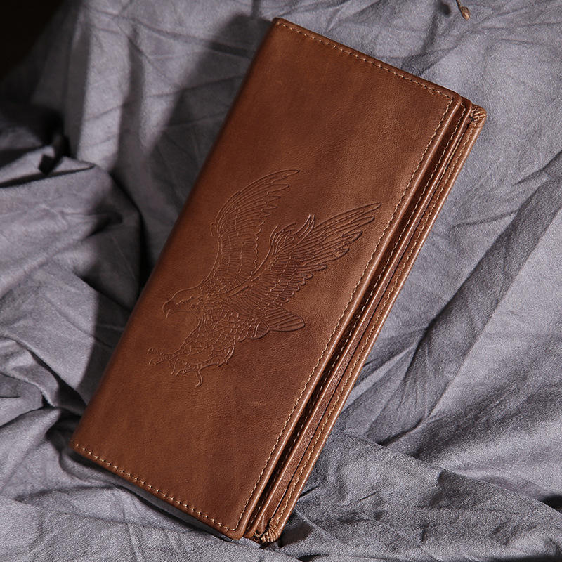 Unisex Genuine Oix Wax Leather Long Wallet Eagle Pattern Design Men Bifold Purse Coin Pocket ID/Credit Card Holder Women Wallets japan anime katekyo hitman reborn wallet cosplay men women bifold coin purse