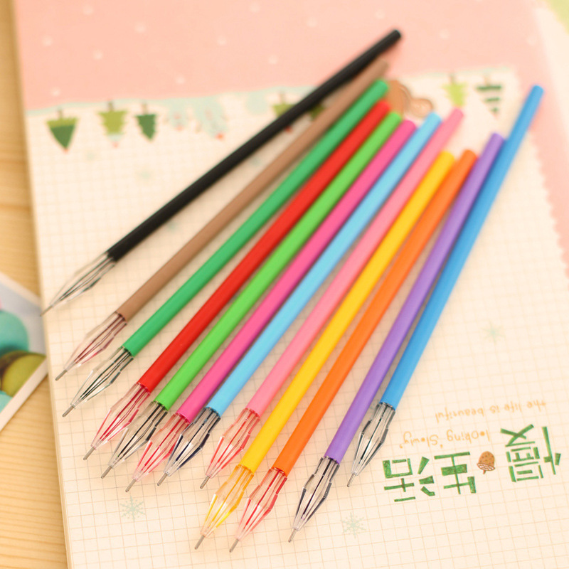 12 pcs/set Creative Crystal Diamond Rainbow Roller Ball Pen Refill Colour Ink Gel Pen Refill for School Stationery