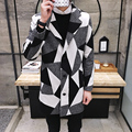 New 2016 winter england style fashion color blocked plaid wool coat men trench coat men sobretudo wool & blends	size m-xl NDY20